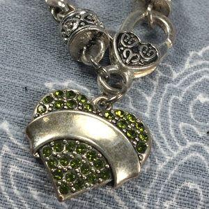 Jewelry - Silver tone bracelet with green heart